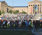 Participants in this year's AIDS walk congregate around the steps of the Philadelphia Museum of Art. 2011 marks the 25th year of the AIDS walk and 30 years since AIDS was discovered in Sub-Saharan Africa.
