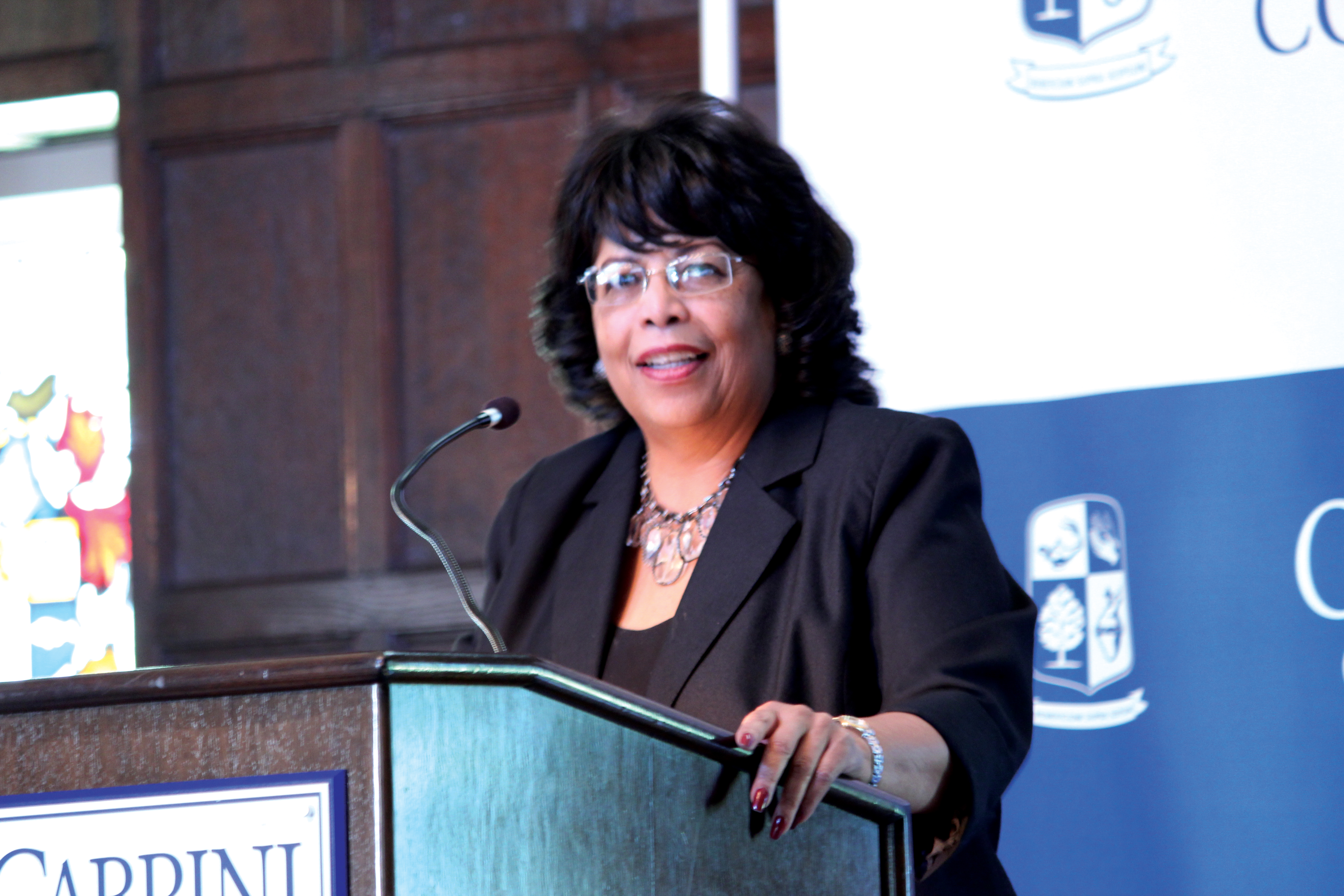 Dr. Bettye Collier-Thomas speaks to the crowd gathered in the Mansion for her speech to the college community on Thursday, Sept. 29.
