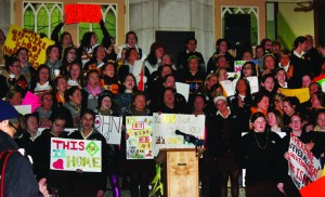 Students from St. Hubert Catholic High School for Girls rally on the morning of Monday, Jan. 9.