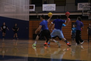 Students in action during the dodgeball tournament on Oct. 12.