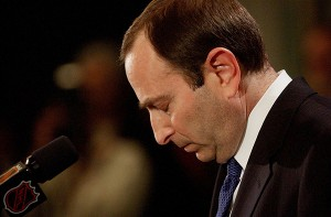 Gary Bettman is seen here announcing the cancellation of the 2004-05 season on February 16, 2005. The NHL is currently in its third lockout under Bettman's tenure as NHL commissioner. (MCT)