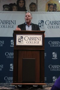 Katz addressing the crowd at the College's Domestic Violence Symposium on Tuesday, Oct. 9.