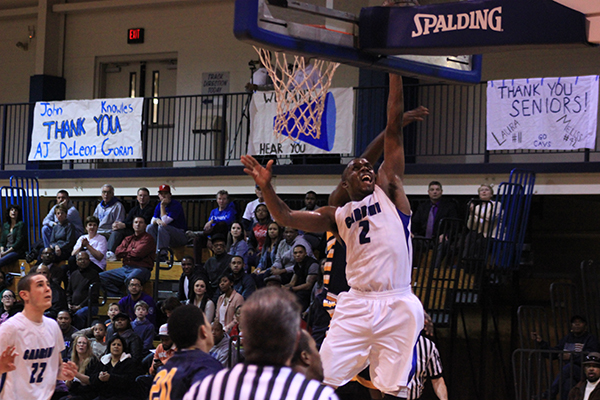 Sophomore Aaron Walton-Moss (No. 2) scored a career-high 30 points while adding 12 rebounds and eight assists in a 90-77 win over Neumann University in the CSAC semi-final. (Nicholas Cipollone / Asst. Sports Editor)