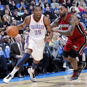 buy popular ef70b b0a6a Who will become the league s MVP this season  Kevin Durant of the Oklahoma  City Thunder or Lebron James of the Miami Heat  (Photo by Layne  Murdoch NBAE via ...
