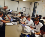 The men's lacrosse team studies together to keep great grades. (Dominique DiNardo/Staff Writer)