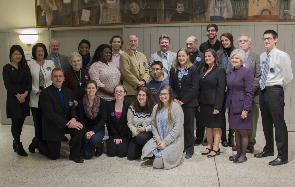 Students, Cabrini Mission Corps missioners, representatives from CRS and the Vatican gathered after the #RefugeesSeekingSafety simulation on Feb. 5. (Amy Held / Photo Editor)